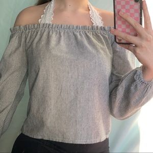 vertical stripped off the shoulder top!!